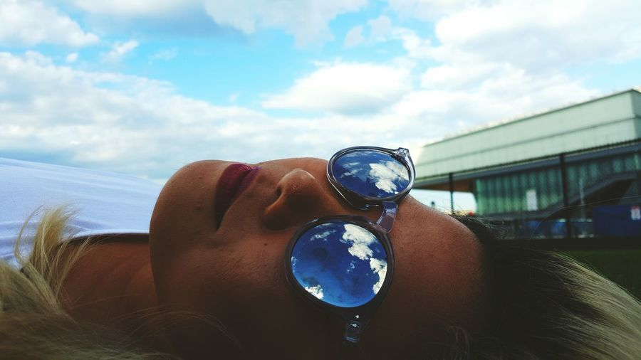 Art Sky Blue Glasses Reflection Beauty Girl