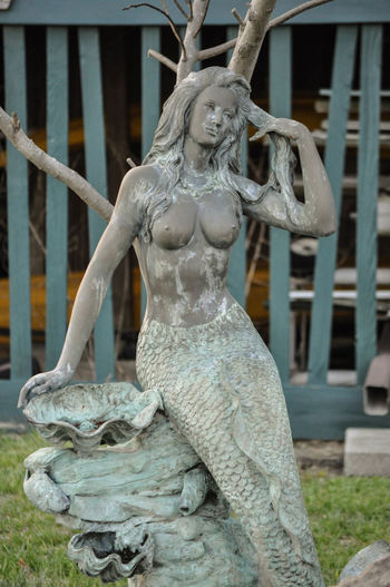Statue of a Mermaid Woman Female Female Likeness Human Representation Mermaid Outdoors Sculpture Statue