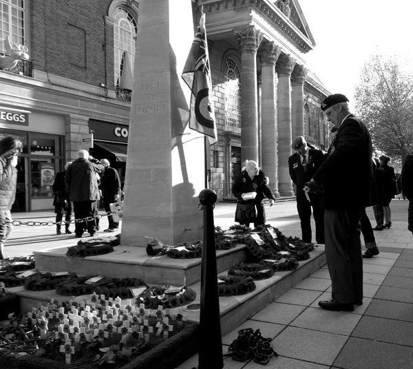A veteran pays his respects after remembrance day ceremony at Peterborough, UK. Streetphoto_bw Streetphotography EyeEm Best Shots - Black + White Authentic Moments