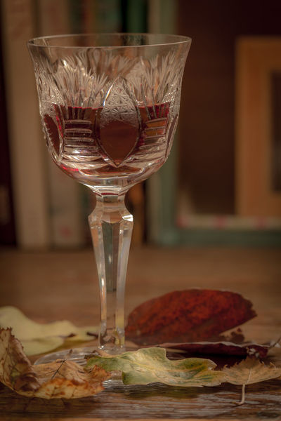 Autumn feeling. Autumn Colors Autumn Leaves Chrystal Close-up Drink Drinking Glass Food And Drink Glass Indoors  Still Life Table Wine Wineglass
