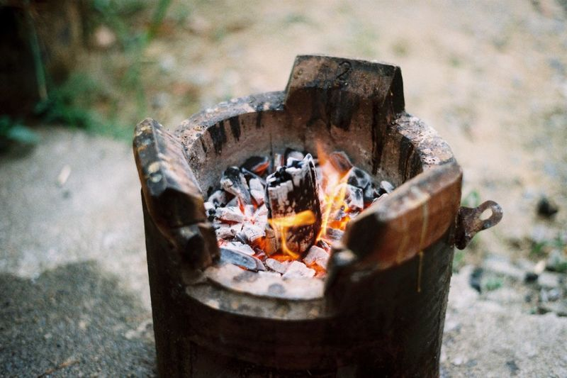High angle view of wood burning stove