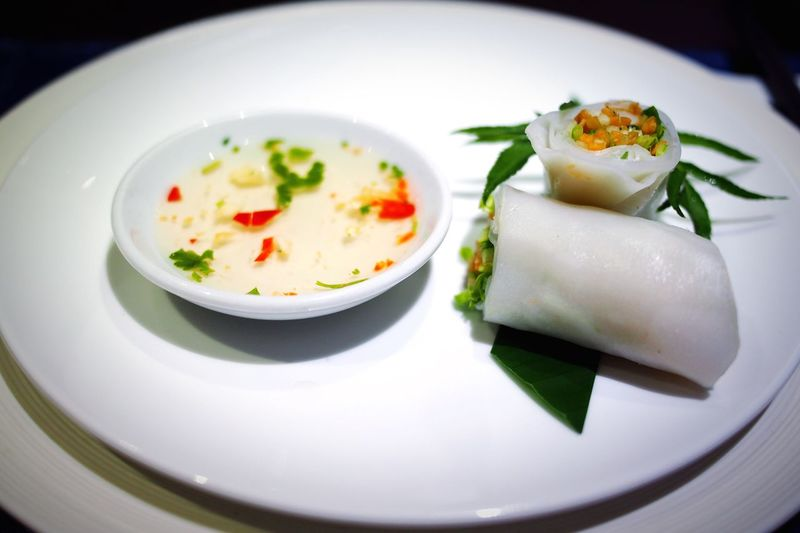 Spring roll in plate