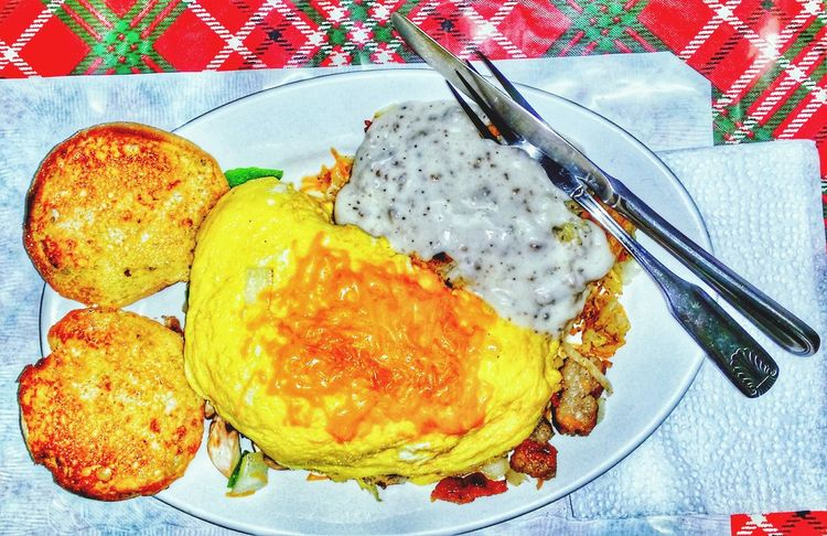 EyeEm Selects the way to start your day eggs biscuit and gravy Food And Drink Plate Ready-to-eat Food Indoors  No People Table Close-up Healthy Eating Practicing Photography Straight From The Camera Practice Just For Fun Eggs For Breakfast Breakfast Meal Food And Drink Freshness Fun Shooting