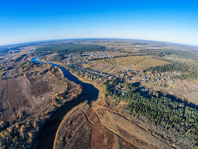 The village on the banks of the river Mologa. A Bird's Eye View Aerial Aerial Shot Aerial View Agriculture Blue City Cityscape Day Drone  Dronephotography Landscape Nature No People Outdoors Rural Scene Top Perspective Village