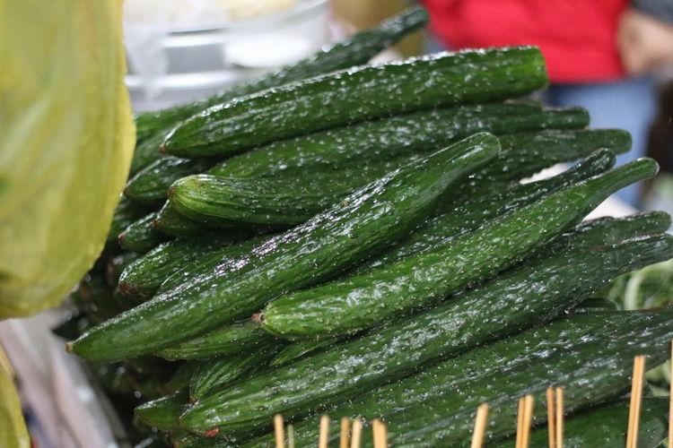 Close-up of heap of zucchini