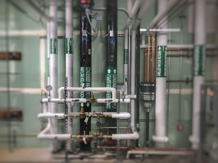 Close-up of pipelines in factory