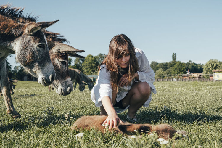 Woman stroking donkey on land against clear sky
