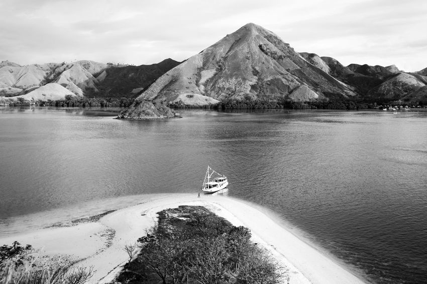 Top View of Kelor Island Komodo National Park Beauty In Nature Black And White Bw Day Flores INDONESIA Kelor Island Komodo National Park Lake Mountain Nature Nautical Vessel No People Outdoors Park Scenics Sky Tranquil Scene Tranquility Water
