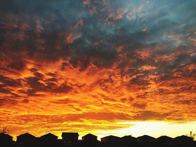 Over The Rooftops Beautiful Sky❤ Morning Sky St Albert Sky Beauty In Nature Cloud - Sky Sunset Scenics - Nature Orange Color Dramatic Sky