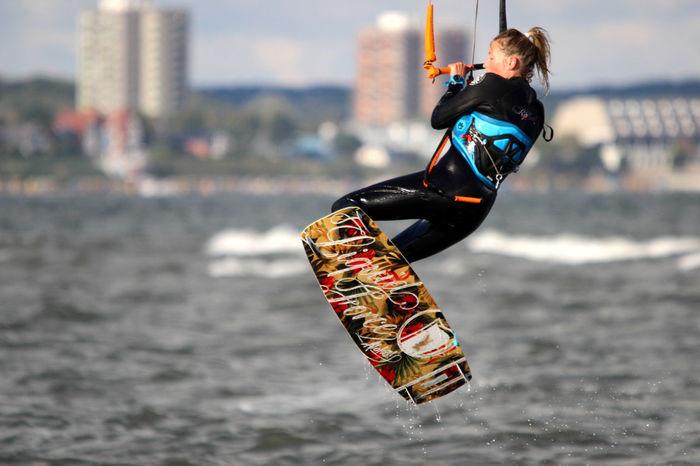 Kieler Förde Kitesurfen One Person Outdoors Sport Strand Wasser Water