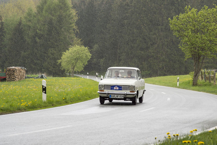 Brilon, Germany - May 13th in 2017: Oldtimer Sauerland round trip Asphalt Car, Chrome Competition Country Road Excursion Festival Journey Old Cars Oldtimer, Outdoors Participation Ps Rain Rally Road Round Trip Rundfahrt Sauerland Street Wet Wetlands Opel Kadett Opel Kadett E