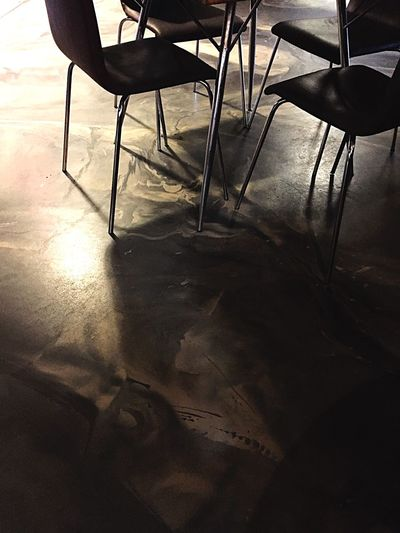 Shadow No People Tranquility Tranquil Scene Floor Sleek Marbling London Building Story Table Chairs Warehouse Restaurant Modernism