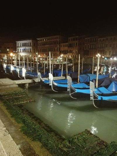 Night Transportation Outdoors City Gondola - Traditional Boat Colors Quiet Travel Relaxing Taking Photos