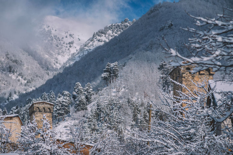 Snow Cold Temperature Winter Mountain Day Nature Beauty In Nature Tree Scenics - Nature Plant Frozen Covering Tranquility Snowcapped Mountain Architecture Tranquil Scene Non-urban Scene Outdoors Extreme Weather Mountain Peak Mestia Old Vilage Old Town Mountain Village Castle