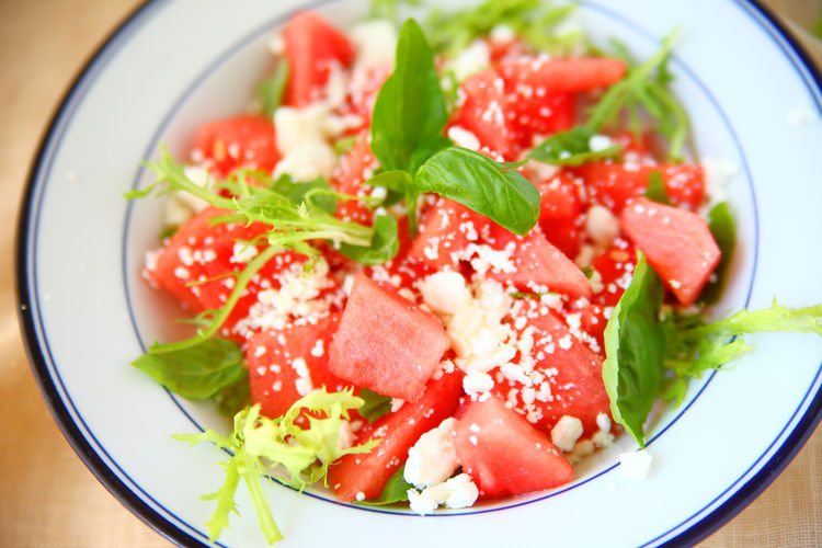 Watermelon feta cheese salad Cooling  Green Homemade Food Natural Light Red Textures Watermelon Salad Close-up Colorful Delicious Feta Cheese Food Fresh Basil Fresh Melon Freshness Healthy Eating Indoors  No People Overhead Ready-to-eat Refreshing Salad Salty Sweet Summer