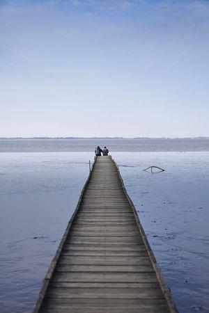 Couple Dangast Footbridge Jadebusen Mudflat S Sky Watt