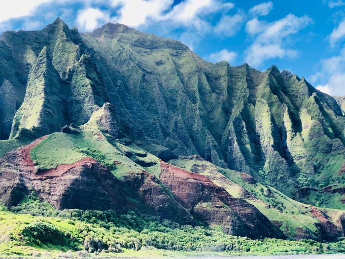 Na Pali Coast Kauai Hawaii Mountain Cloud - Sky Sky Beauty In Nature Tranquility Tranquil Scene The Traveler - 2018 EyeEm Awards Scenics - Nature Day Landscape Mountain Range Non-urban Scene Environment No People Nature Idyllic Land Green Color Rock Geology Remote
