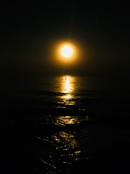 Dark Sun Jeff Woytovich Sunset Beauty In Nature Sea Sun Scenics Nature Tranquil Scene Tranquility Water Reflection Orange Color Idyllic Horizon Over Water Sunlight No People Outdoors Beach Moon Sky Silhouette