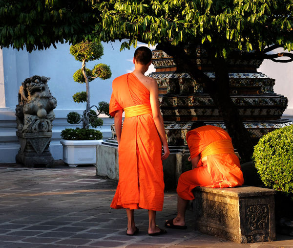 Monks arriving at Wat Pho for prayer Bangkok Buddhism Cultures Monks Orange Real People Religion Street Photography Streetphotography Thailand Wat Pho Spotted In Thailand The Street Photographer - 2016 EyeEm Awards