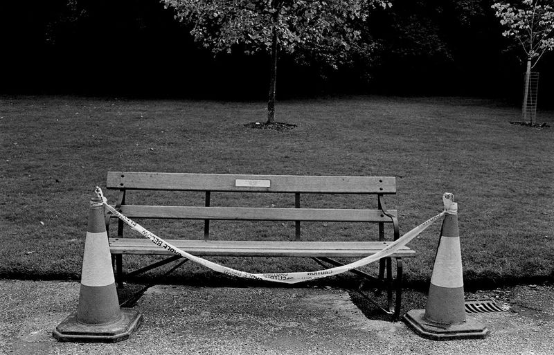 Danger, Park Bench Absence Beauty In Nature Black And White Collection  Cordoned Offed Park Bench Day Documentary Nature Photography Photography Taking Photos A Empty Growth Lakeshore Landscape Photography Monchrome Nature No People Outdoors Park Park - Man Made Space Park Bench Reportage Street Photos Taking Fotos Images Photographic Camera Lens Architectural Design Building Structual Support Detail Of Tower Block In Sunshine Blue Sk Rippled Scenics The Way Forward Tranquil Scene Tranquility Tree Water