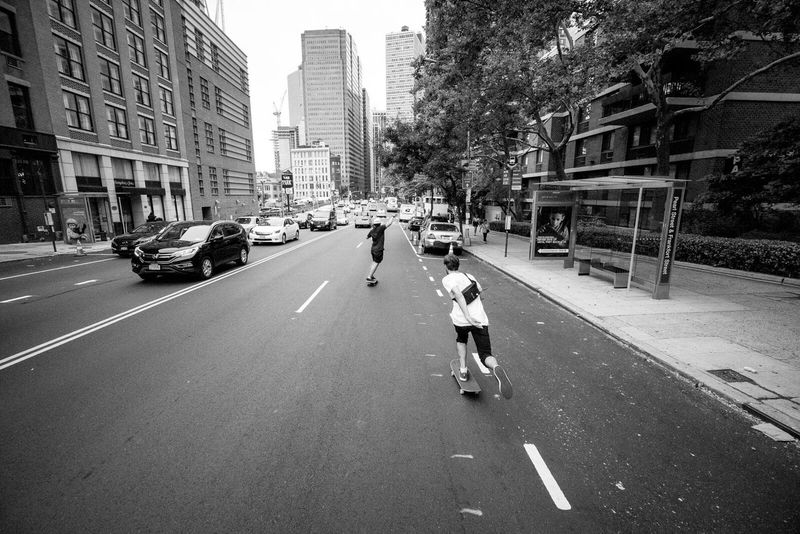 Mix Yourself A Good Time with Skateboarding in New York City with Friends and Family   Bogdan and Matt cruising the streets   Freedom NYC Fun GoodTimes
