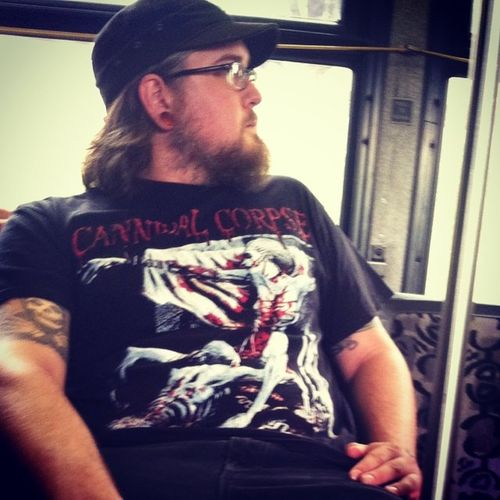 Sometimes, if I didn't know bae, I'd be a little scared 🔪🎶😳 CannibalCorpse Tombofthemutilated Metalboyfriends Cantwaitformayhem Buslife