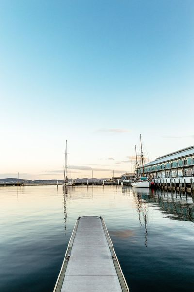Franklin Wharf Australia Tasmania Hobart Water Sky Clear Sky Nature Copy Space Sea Reflection Transportation Scenics - Nature Beauty In Nature Nautical Vessel Sailboat Built Structure Tranquil Scene