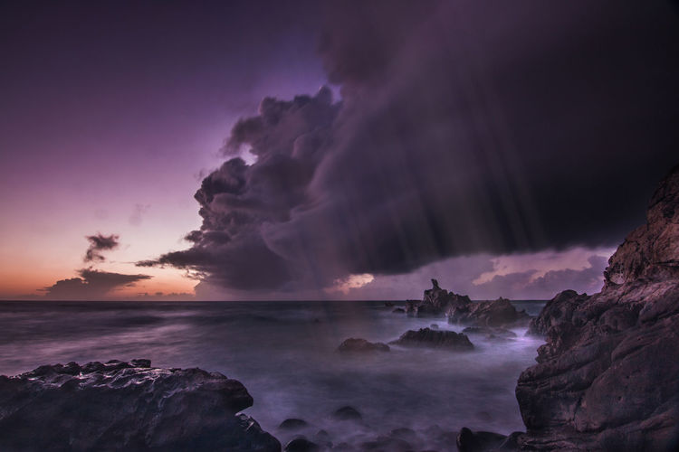 Ocean heaven Beauty In Nature Day Horizon Over Water Lightning Long Exposure Long Exposure Shot Motion Nature No People Outdoors Power In Nature Rock - Object Scenics Sea Sky Sun Sunset Tranquility Water
