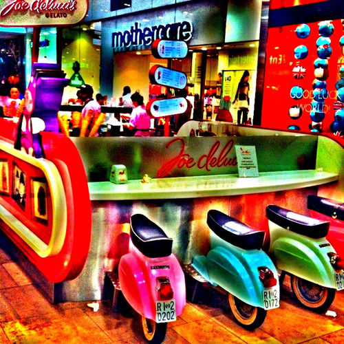 60's Style.... Cafe Colors Joe Deluxe London 2012 Olympic Village Olympicgames Seats Vespa