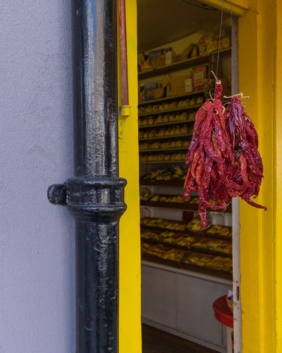 Notting Hill EyeEm EyeEm Best Shots EyeEm Nature Lover Architecture Building Building Exterior Built Structure Close-up Day Door Entrance Focus On Foreground Food And Drink Freshness Hanging Metal No People Outdoors Pipe - Tube Red Security Wall - Building Feature Yellow