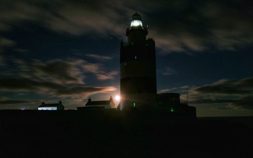 🌜🌝🌚🌛 moonrise at the hook. Hook Lighthouse Hook Head, Ireland Wexford Ireland Ireland🍀 Lıghthouse Lighthouse Point Long Exposure Shot Moonlight Moonrise Night Outdoors No People Sky Architecture Built Structure Building Exterior Huawei P10 Plus EyeEmNewHere Lighthouse_captures Lighthouse_lovers Moonshine Moon Light Moon Night Sky Nightshot