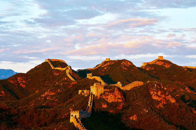 Great Wall at dusk Architecture Beijing Great Wall Great Wall Of China Travel Beauty In Nature Building China Cloud - Sky Environment Great Wall Of China Tower History Landmark Landscape Mountain Mountain Peak Nature Oriental Outdoors Scenery Scenics - Nature Sunset Tranquil Scene Tranquility Travel Destinations
