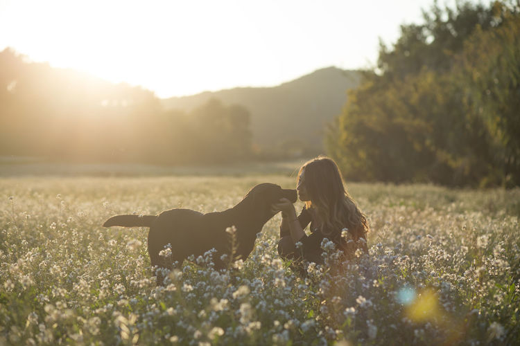 Dog and woman on field against sky