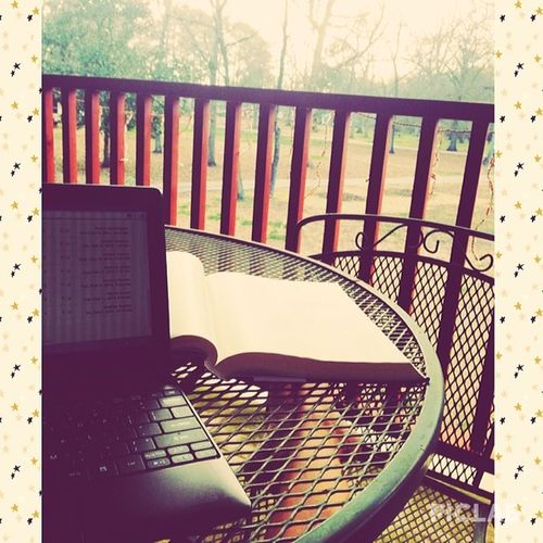 Sitting out on the balcony doing some homework because it's so beautiful outside today. Gettingsomeuseoutofthebalcony Ishouldcomeoutmoreoften Vscocam Piclab
