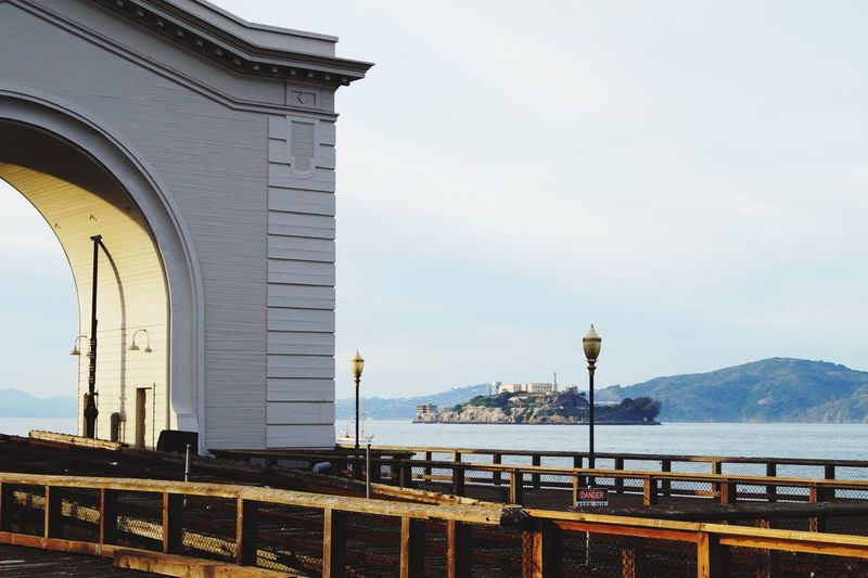 Alcatraz island against clear sky seen from pier 399