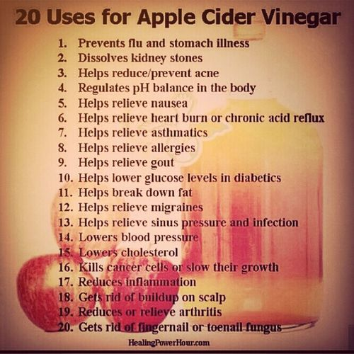Apple Cider Vinegar... the excellent source of all things u.s.e.f.u.l and effective, with no side effects unless consumed by downing the while things- ouch. Logistic Holistic Acv Detox