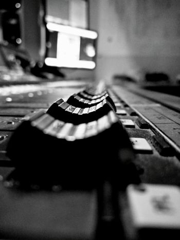 Close-up Focus On Foreground Detail Close-up Detail Selective Focus Indoors  Black And White Photography Faders Sound Mixer Sound Console Amplifier Audio Audio Mixer Audio Equipment Audio Studio Audio Engineering Audio Mastering Everything In Its Place Monochrome Photography Beautiful Organized Close Up Technology