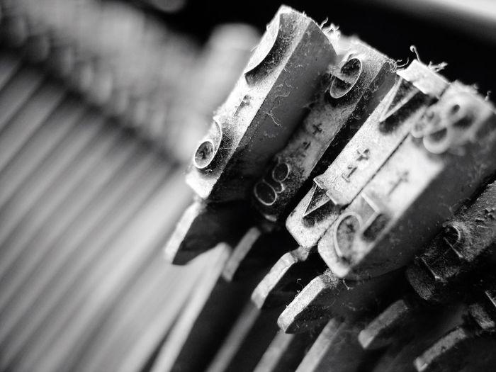 Close-up of old typewriter letterpress