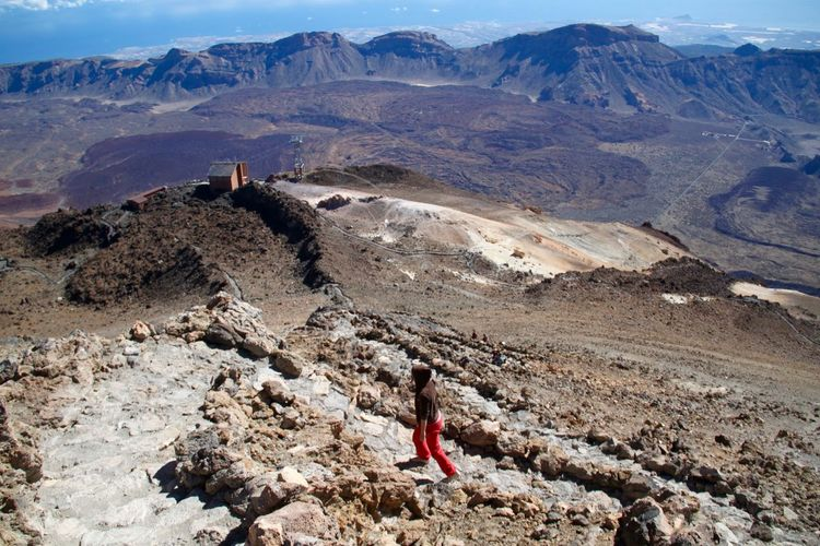 High angle view of woman walking at el teide national park