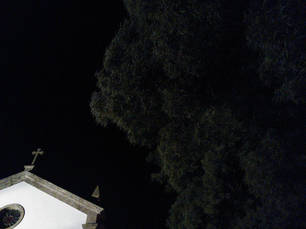 religion, built structure, tree, architecture, place of worship, spirituality, no people, building exterior, low angle view, cross, outdoors, night, nature, sky