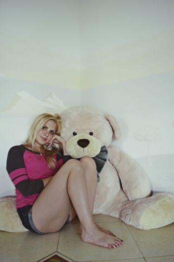 Girl Bear Relaxing