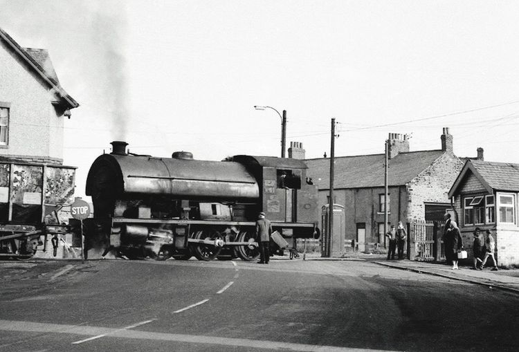 steam locomotive, level crossing, Northumberland ,1967 Street Road Transportation Steam Locomotive Steam Colliery