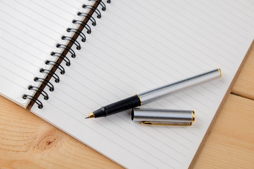 Book Close-up Day Diary Directly Above Education High Angle View Indoors  No People Note Pad Paper Pen Spiral Spiral Notebook Still Life Table Wood - Material