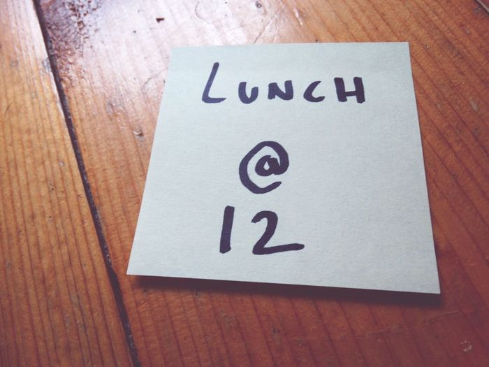 Lunch @ 12. Communication Indoors  Text Table No People Close-up Wood - Material Day Note Notes Postit Post It Notes Post It Note Wooden Sticker Lunch Reminder Office Home Stickers Post Its Paper