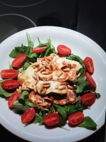 yummie Ruccola Tomatoes Halloumi Cheese Plate Basil Leaf Fruit Food And Drink Pine Nut Leaf Vegetable