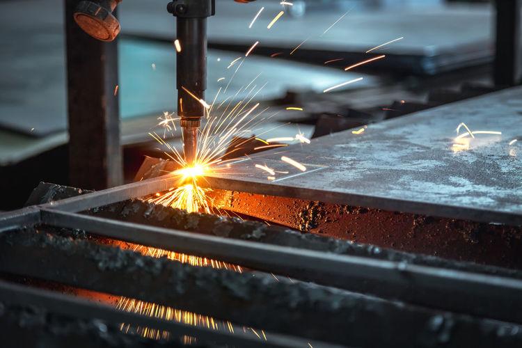 Metal welding at factory