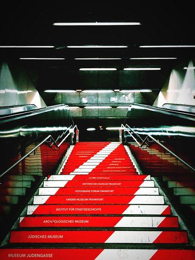 Schweizerplatz Frankfurt U-Bahn Subway Staircase Red Intensive Colors Underground Escalator