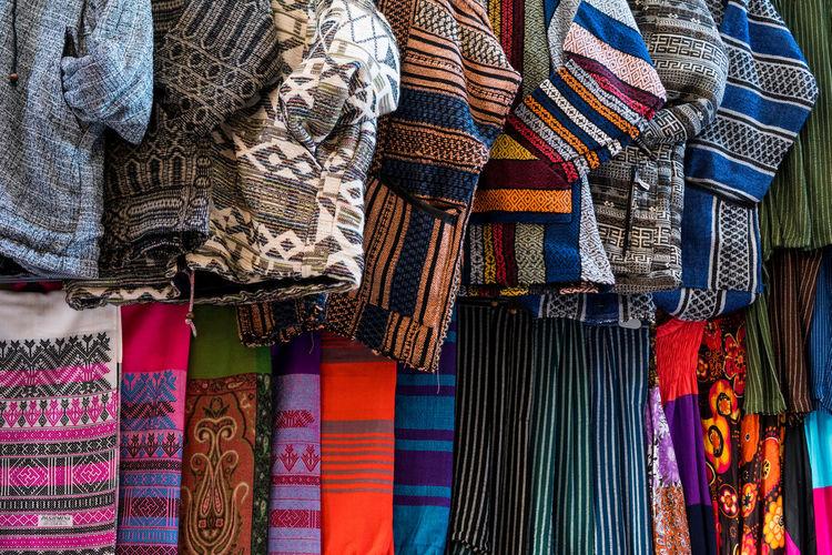 Full frame shot of warm clothing for sale at market
