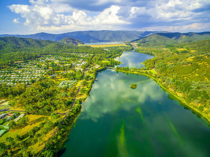 Aerial scenic view of beautiful lake in Australia Australia Australian Landscape Beautiful Drone  Goulburn River Panorama Panoramic Scenic Aerial Aerial Landscape Aerial View Beauty In Nature Cloud - Sky Countryside Dam Day Drone Photography Eildon Green Color Lake Lake Eildon Landscape Melbourne Mountain Mountain Range Mountains Nature No People Outdoors River Scenics Sky Tranquil Scene Tranquility Travel Destinations Tree Water Waterfront