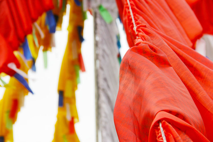 Tibet Tibetan Buddhism Prayer Flags  Prayer Flag Colorful Buddhism Buddhist Flags Religion Belief Spirituality No People Hanging Multi Colored Place Of Worship Red Selective Focus Close-up